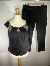 M&S Limited Collection Black Evening Trouser Suit Lace Accents Size 16 ( E2 )