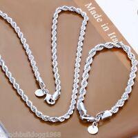 Damen  Schmuckset Kette+Armband 925er Silber plt und gestempelt Edel(Set4)