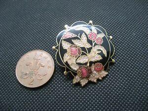 Lovely Vintage FISH & CROWN Cloisonné Enamel Gold Tone Flower Brooch.