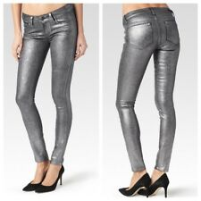 PAIGE Verdugo NWOT Ultra Skinny Made in USA Coated Silver Jeans Sz 25 RRP $299