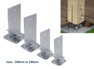 HEAVY DUTY GALVANISED BOLT DOWN INTERNAL POST SUPPORT FENCE/T-BAR BASE FOOT