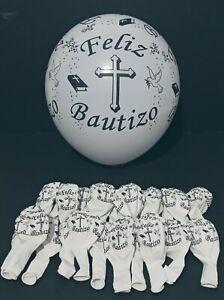 "24  BAPTISM BALLOONS FELIZ BAUTIZO WHITE BALLONS PARTY FAVOR DECORATION 12"""