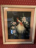 Vintage Mexican  Bird Folk Art Feather Art Framed picture