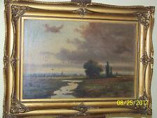 American Barbizon School c19th Century Original Oil On Canvas Meadow Landscape