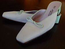 St. John Made in Italy Heels Shoes Sz 6.5 kitten heel Powder Blue excellent cond