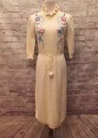 Plain Jane Esprit Vintage Sweater dress Ivory White Floral Women's Small