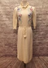 Plain Jane Esprit Vintage Sweater dress Ivory White Floral Women's Small
