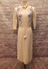 Plain Jane Esprit Vintage Sweater dress Ivory White Floral Women��s Small
