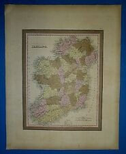 1849 S A Mitchell New Universal Atlas Map ~ IRELAND ~ Old Authentic