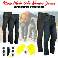 Mens Motorbike Motorcycle jeans Reinforced denim with Protective Armour Trousers