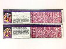 SPARKSTALKER CINDERSAUR Tech Spec File Card TRANSFORMERS G1 Hasbro 1980s Vintage