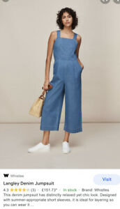 Whistles Jumpsuit Size 8 Langley Denim Jumpsuit Cost £155 Worm Once Only
