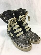 Sperry Top-Sider Shoe Boots Womens 7.5 High Top Sneakers Boat Gray Aztec Sparkle