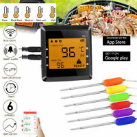 Wireless Meat Thermometer Oven Smoker BBQ Grill Remote Digital Food 6 Probes USA