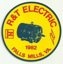 R&T Electric 1982 Falls Mills Va Vintage Unused Mining Hard Hat Decal Sticker