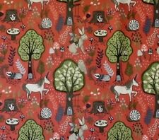 ENCHANTED FORREST DUSKY RED BY LEWIS & IRENE - COTTON FABRIC FQ'S