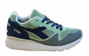 Diadora V7000 Weave Mens Trainers Blue Green Textile Lace Up Shoes C6872