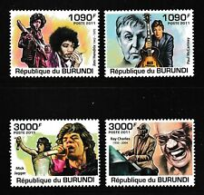 McCartney Jagger Hendrix mnh set of 4 stamps 2011 Burundi #966-9 Ray Charles