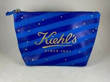 Blue Striped KIEHL'S Canvas Cotton Zippered Toiletry Makeup Pouch Travel Case