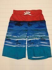 NWT Boys ZeroXposur Swim Trunks Size Small S 8 Red Blue Sharks Shark