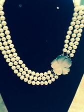 Freshwater Pearl Necklace - 3 strand with flower clasp