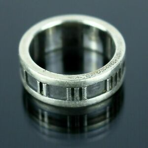 TIFFANY & CO. Atlas Roman Numeral Band Ring Sterling Silver 925 Size 4.5