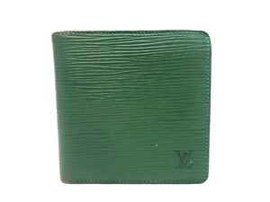 Authentic LOUIS VUITTON Epi Wallet Bi-fold Marco Green M63544 Vintage