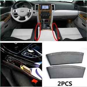 2x Leather Caddy Car Seat Gap Filler Organizer Drop Catcher Pocket Seat Console