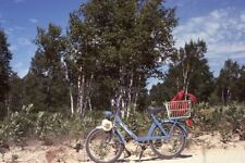 BLUE MOPED / ELECTRIC BIKE PARKED ON THE BEACH Vtg 1977 35mm PHOTO SLIDE