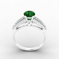 0.84 Ct SI1 Genuine Emerald Engagement Ring 14K White Gold Diamond Rings Size N
