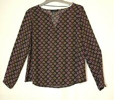BLACK RED FLORAL LADIES CASUAL PARTY TOP BLOUSE SIZE 6 ATMOSPHERE