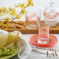 Turkish Tea Glasses with Saucers 12 Pcs, Authentic Teacups Set of 6, 5.75 oz