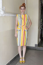 Damen Kleid NOS dress Streifen stripes gelb weiß 60er True VINTAGE 60´s women