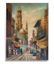 Ölbild Orient Gemälde Öl-Bild Stadtszene Morgenland Araber Beduinen Mosche Bazar