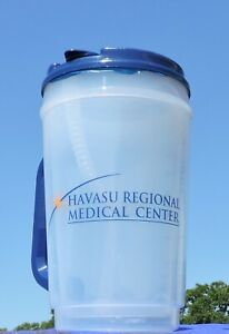 Plastic Insulated Clear Thermo 32oz Mug Bendable Straw & Blue Lid - Havasu