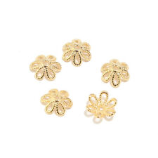 20PCS Real Gold Plated Flower Brass Bead Caps for Jewelry Making Findings 9mm