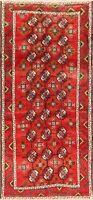 Vintage Tribal RED Balouch Hand-Knotted 7 ft Runner Rug Wool Oriental Carpet 3x7