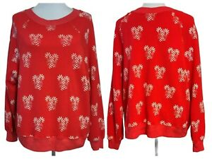 Wildfox Womens Red Sweet Treat Candy Cane Boat Crew Neck Sweatshirt Size Small