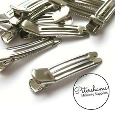 10 Silver Metal Alligator Hair Clips for Millinery