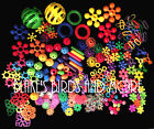 125 PIECE- MEGA PLASTIC BIRD TOY PARTS LOT! SMALL, MED, AND LARGE PIECES