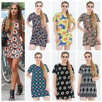 WOMENS LADIES CELEB AZTEC PAISLEY PRINT SUMMER SHIFT TUNIC  MINI BODYCON DRESS