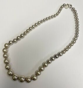 Tiffany & Co Sterling Silver Graduated Bead Ball Necklace 16 Inches