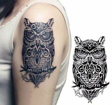 Owl large temporary tattoo Stickers for Men and Women - Body Art Removable - Wat