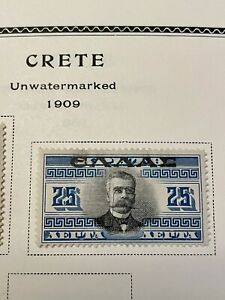 Crete Greece 1909 Overprint Stamp 25 L Black and Blue MH Mint Hinged