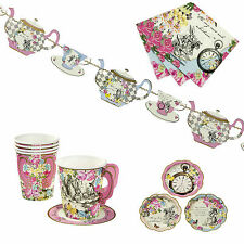 Truly Alice in Wonderland TEA PARTY SET - Cups, napkins, Plates & Teapot bunting