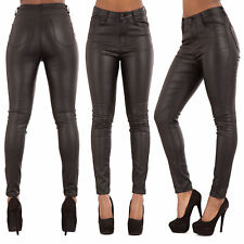 75f5adc370d8e6 WOMEN HIGH WAIST PLUS SIZE LEATHER LOOK JEANS Skinny FitTrousers SIZE 6-20