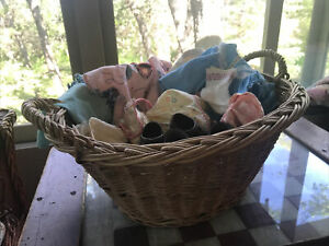 Vintage 1950's Child Size Oval Laundry Basket Woven Wicker With Old Doll Clothes