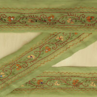 Vintage saree Border Indian Sari Embroidered Green Ribbon Sewing Used 1YD Trim
