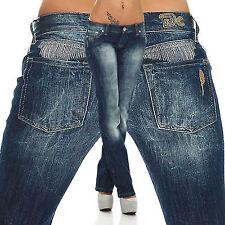 Britney Top Damen Jeans Hose Damenjeans Hüfthose d.Blau Denim Stoff Bootcut Neu