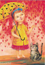 GIRL WITH UMBRELLA AND HER CAT Modern postcard Russian / Engl captions Ukraine